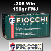 Fiocchi 308A: .308 Winchester (7.62 NATO) FMJ Boat tail 150gr 20/Box