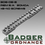 Badger Ordnance 306-06-8: Remington Short Action Scope Rail with # 8-40 Screws 20 MOA Cant