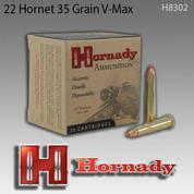 Hornady H8302: 22 Hornet 35gr V-Max 25/Box
