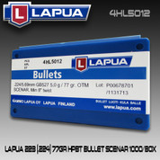 Lapua 4HL5012: 223 (.224) 77gr HPBT Bullet Scenario 1000/Box