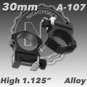 "Nightforce A107: 1.125"" High 30mm Ultralite Rings"