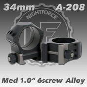 "Nightforce A208: 1.00"" Medium 34mm Ultralite 6 Screw Rings"