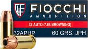 Fiocchi 32APHP: 32 ACP 60 gr JHP 1100 FPS 50rds/box