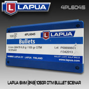 Lapua 4PL6045: 6mm (.243) Scenar 105gr Scenar Lockbase 100/Box