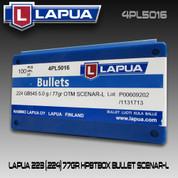 Lapua 4PL5016: 22cal (.223/.224) 77gr Scenar Lockbase 100/Box