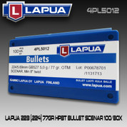 Lapua 4PL5012: .22 cal (224,5.69mm) 77gr Scenar OTM 100/Box