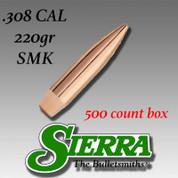 Sierra Bullets SRA2240C: .30cal (.308) 220gr HPBT MatchKing 500/Box