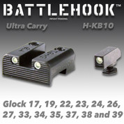 Battlehook H-KB10: Sight Sets For Glock Pistols, Ultra Carry Tritium Front and Rear