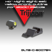 Trijicon 600545: HD Night Sight Set Yellow Front Outline for Glock Pistols    GL104Y