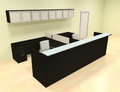 12pc 12' Feet U Shaped Glass Counter Reception Desk Set, #CH-AMB-R23
