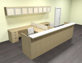 12pc 12' Feet U Shaped Glass Counter Reception Desk Set, #CH-AMB-R25