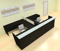 8pc 12' Feet U Shaped Glass Divider Counter Reception Desk Set, #CH-AMB-R18