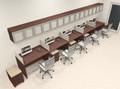 Five Person Modern Divider Office Workstation Desk Set, #CH-AMB-SP116