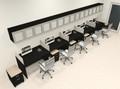 Five Person Modern Divider Office Workstation Desk Set, #CH-AMB-SP118