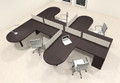 Four Person L Shaped Modern Divider Office Workstation Desk Set, #CH-AMB-SP22