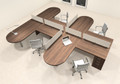 Four Person L Shaped Modern Divider Office Workstation Desk Set, #CH-AMB-SP24