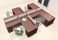 Four Person L Shaped Modern Divider Office Workstation Desk Set, #CH-AMB-SP36