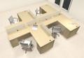 Four Person L Shaped Modern Divider Office Workstation Desk Set, #CH-AMB-SP40