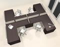 Four Person L Shaped Modern Divider Office Workstation Desk Set, #CH-AMB-SP47