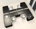 Four Person L Shaped Modern Divider Office Workstation Desk Set, #CH-AMB-SP48