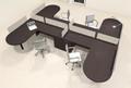 Four Person L Shaped Modern Divider Office Workstation Desk Set, #CH-AMB-SP52