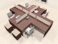 Four Persons L Shaped Office Divider Workstation Desk Set, #CH-AMB-FP46