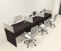 Three Person Modern Divider Office Workstation Desk Set, #CH-AMB-SP67