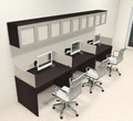 Three Person Modern Divider Office Workstation Desk Set, #CH-AMB-SP87