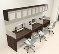 Three Person Modern Divider Office Workstation Desk Set, #CH-AMB-SP89
