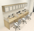 Three Person Modern Divider Office Workstation Desk Set, #CH-AMB-SP90