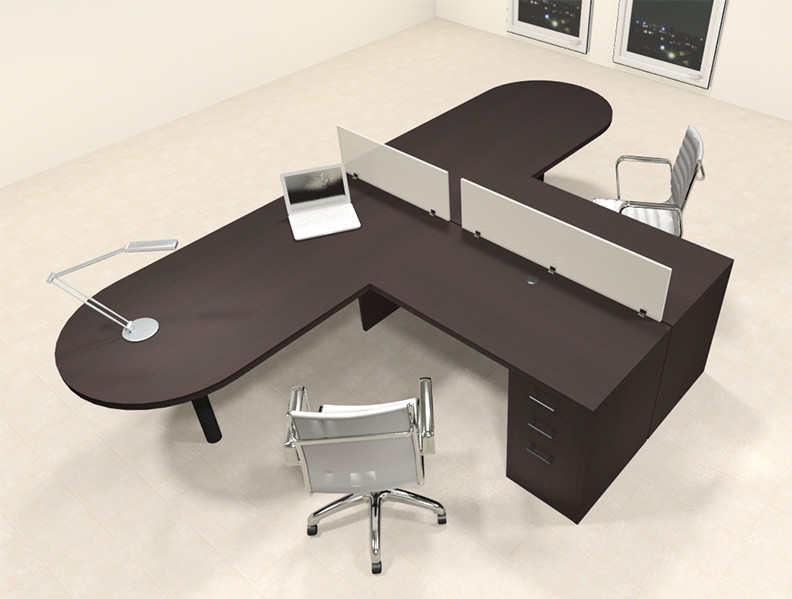 Two Person L Shaped Modern Divider Office Workstation Desk Set CH - L shaped conference table