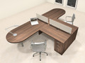 Two Person L Shaped Modern Divider Office Workstation Desk Set, #CH-AMB-SP19
