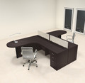 Two Person L Shaped Modern Divider Office Workstation Desk Set, #CH-AMB-SP2