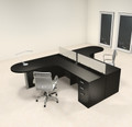 Two Person L Shaped Modern Divider Office Workstation Desk Set, #CH-AMB-SP3