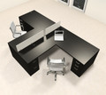 Two Person L Shaped Modern Divider Office Workstation Desk Set, #CH-AMB-SP33