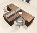 Two Person L Shaped Modern Divider Office Workstation Desk Set, #CH-AMB-SP34