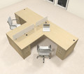 Two Person L Shaped Modern Divider Office Workstation Desk Set, #CH-AMB-SP35