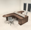 Two Person L Shaped Modern Divider Office Workstation Desk Set, #CH-AMB-SP4