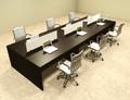 Six Person Modern Divider Office Workstation Desk Set, #OT-SUL-FP12