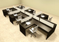 Six Person L Shaped Divider Office Workstation Desk Set, #OT-SUL-SP52