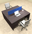 Two Person Modern Blue Divider Office Workstation Desk Set, #OT-SUL-FPB15