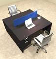 Two Person Modern Blue Divider Office Workstation Desk Set, #OT-SUL-FPB16