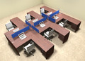 Six Person Blue Divider Office Workstation Desk Set, #OT-SUL-FPB46