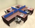 Four Person Blue Divider Office Workstation Desk Set, #OT-SUL-SPB46