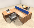Two Person Blue Divider Office Workstation Desk Set, #OT-SUL-SPB53