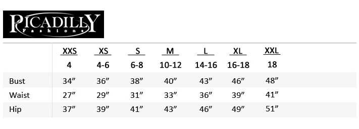 Picadilly Fashions Size Chart