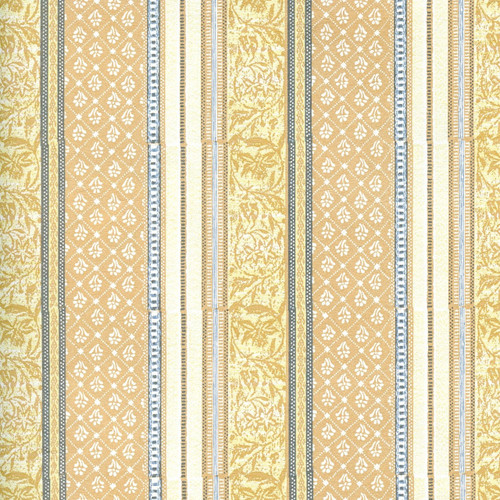 Gold on cream floral pattern stripes alternate with tan, gold, blue and cream stripes in a variety of patterns.