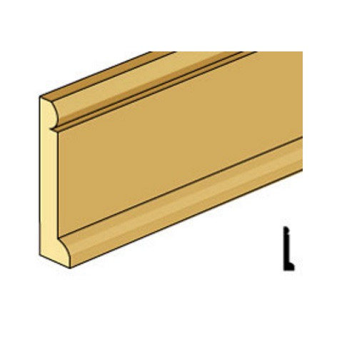 "1/2"" high baseboard molding with cap and shoe profile."