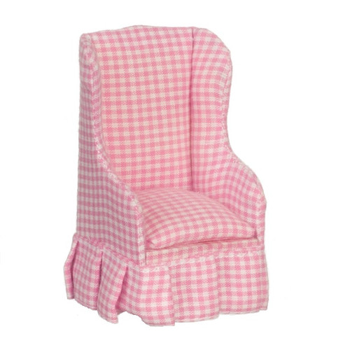 Pink Check Living Room Chair - Jeepers Dollhouse Miniatures