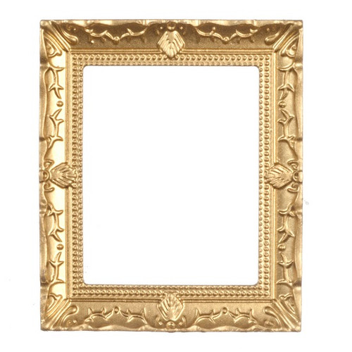 Image of large, ornate gold-tone, picture frame for dollhouse
